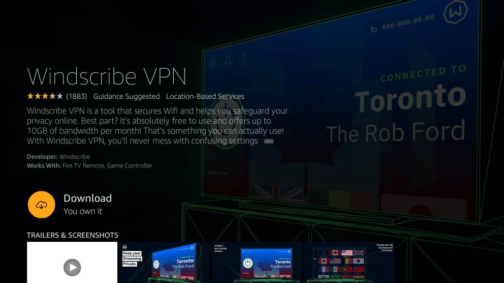 Windscribe VPN for Firestick
